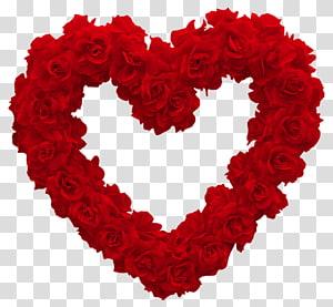Coração rosa dia dos namorados rosa, coração rosa, rosa grinalda em forma de coração PNG clipart