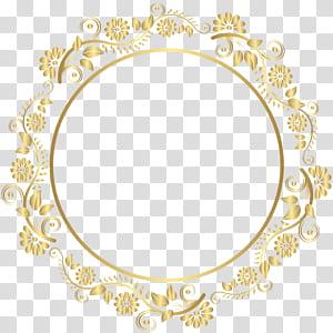 Rodada moldura de ouro Deco, ouro ornamentado floral redondo emoldurado PNG clipart