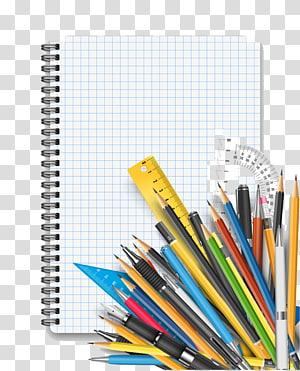 canetas variadas, lápis de aprendizagem do aluno, composição das atividades e ferramentas de aprendizagem PNG clipart
