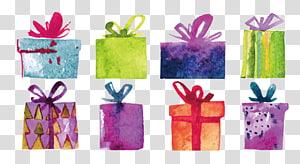 Desenho decorativo da caixa do presente da pintura da aguarela, material bonito do projeto da pintura da aguarela png