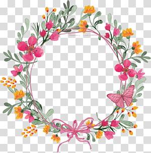 Guirlanda de flores, grinalda de borboleta rosa, ilustração de grinalda floral rosa e laranja png