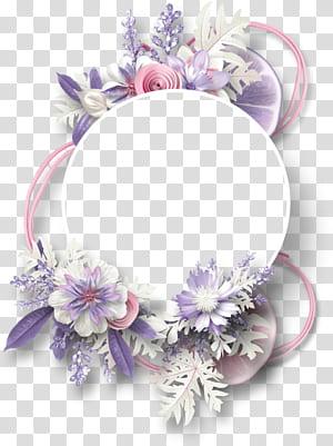 quadro Scrapbooking digital, flores borda circular decorativa limão, roxo e flores brancas png