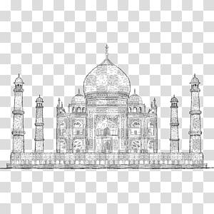Ilustração do Taj Mahal, desenho de atração turística de desenho de Taj Mahal, linha pintada à mão do Taj Mahal PNG clipart