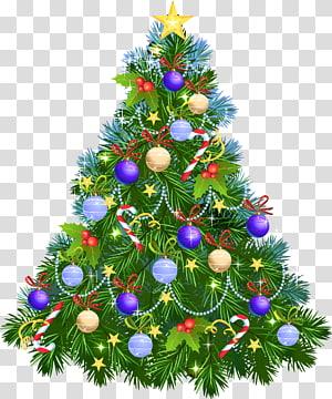 Árvore de Natal Enfeite de Natal, árvore de Natal com enfeites roxos, ilustração verde da árvore de Natal PNG clipart