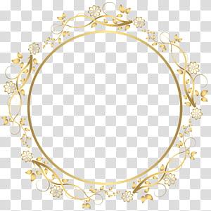 frame, borda floral redonda ouro, ilustração de moldura floral bege redonda png