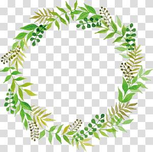 Casamento verde, folhas Floral Border, ilustração de grinalda verde PNG clipart