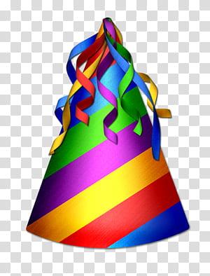 Chapéu de festa Aniversário, chapéu de aniversário, chapéu de festa listrado multicolorido png