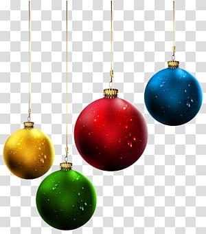 bugiganga amarela, vermelha, verde e azul, enfeite de natal no dia de natal, árvore de natal, bolas de natal png