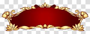 Banner, Red Deco Banner, ilustração de moldura floral PNG clipart