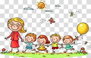 mulher com filhos, desenho animado infantil, alunos e professores desenho animado PNG clipart