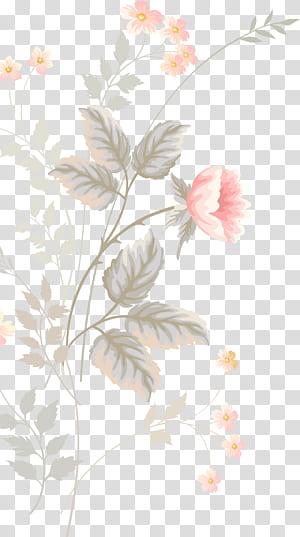 Design floral flor Pintura em aquarela padrão, rosa flores pintadas à mão, decoração floral rosa e verde PNG clipart