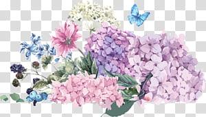 Convite de casamento de flores de hortênsia Ilustração, buquê de aquarela pintada à mão, ilustração de flores de cores sortidas png