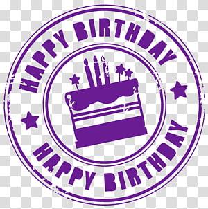 Bolo de aniversário, carimbo de feliz aniversário, sobreposição de texto feliz aniversário png