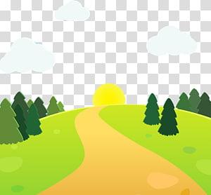 floresta verde e sol amarelo durante o dia ilustração, estrada Cartoon ilustração, estrada de montanha dos desenhos animados png