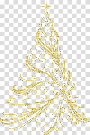 enfeite de natal da árvore de natal, árvore de natal decorativa dourada, ilustração floral amarela PNG clipart