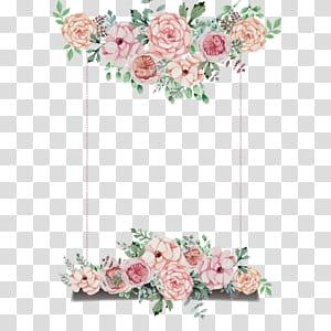 Convite de casamento Flor, tabuleta de tema de flores pintadas à mão, janela emoldurada de rosa rosa ilustração png
