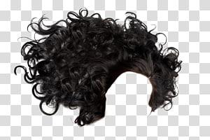 peruca preta, penteado integrações artificiais cabelo preto, encaracolado PNG clipart