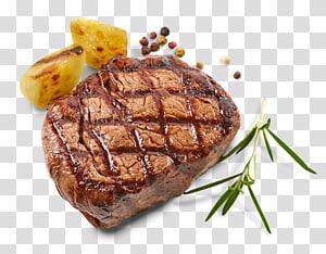 carne grelhada e duas fatias de limão, bife grelhado tempero lombo de carne, bife PNG clipart