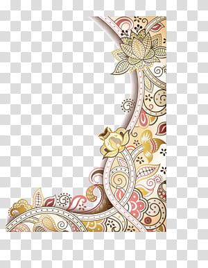 Flor Arte abstrata Design floral, borda requintada de flores pintadas à mão, ilustração de quadro de flor png