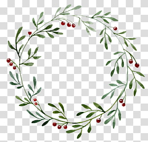 Guirlanda de Natal pintura em aquarela ilustração, borda redonda oca de planta verde, guirlanda de Natal floral verde e vermelha png