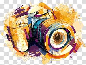 Desenho de câmera, câmera de efeitos aquarela, ilustração de câmera amarela e roxa PNG clipart