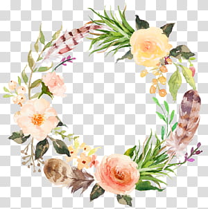 Flor, coroa de flores em aquarela estilo estético, pintura de flores brancas e rosa png