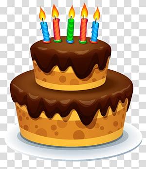 ilustração de bolo de chocolate, bolo de aniversário Bolo de chocolate, bolo com velas png