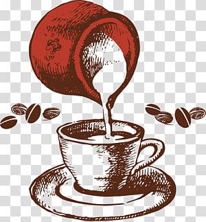 pote vermelho, despejando a xícara de arte digital, café chá café menu, pintado café retrô png
