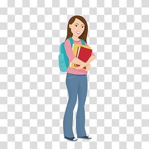 menina segurando livros ilustração, estudante universitário educação universitária, carregando uma mochila para estudantes universitários PNG clipart