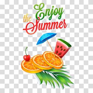 O cartaz Enjoy Summer, suco de verão, um verão fresco PNG clipart