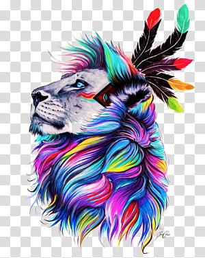Desenho de tela de pintura de cor de papel, leão, ilustração de leão multicolorido png