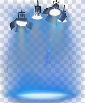 Iluminação de palco, quatro luzes de palco ativadas com fundo azul PNG clipart