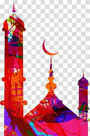 ilustração de mesquita usando cores sortidas, Eid Mubarak Eid al-Fitr Eid al-Adha Mosque, colorido edifício da cidade PNG clipart