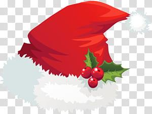 Chapéu de Papai Noel Natal, chapéu de Papai Noel com visco, chapéu de Papai Noel png