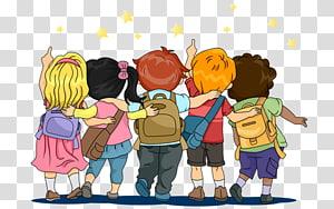 Mochila criança, estudante, cinco crianças vestindo sacos ilustração PNG clipart