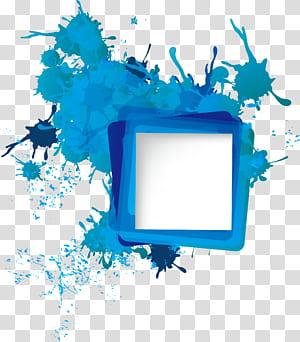 Ícone, tinta espirra fronteira, splat de tinta azul e azul-petróleo png