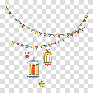 buntings e etiqueta da lâmpada do teto pendurado, Festival Light, luzes decorativas de ano novo islâmico planas PNG clipart