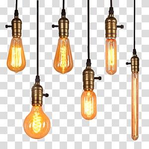 ilustração de seis lâmpadas pendentes, lâmpada de iluminação Edison PNG clipart