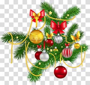 ilustração de enfeites de prata, ouro e vermelho, decoração de natal enfeite de natal natal e época natalícia árvore de natal, decoração de natal PNG clipart
