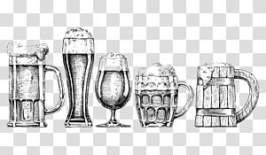 cinco esboços de caneca, copos de cerveja desenho ilustração, copo de espuma de cerveja png