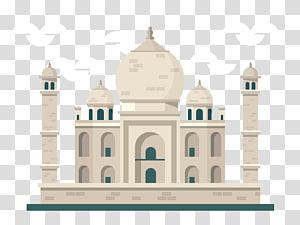 ilustração de mesquita branca, ícone de viagens Taj Mahal, padrão pintado de Taj Mahal PNG clipart
