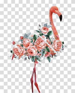 Flamingo Women and Birds Impressão em tela em tela Printmaking, Watercolor flamingo, pink flamingo illustration png