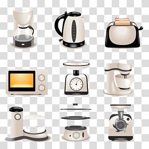 cafeteira, chaleira, torradeira e micro-ondas, Eletrodomésticos Cozinha Aparelho pequeno Geladeira, Aparelhos de cozinha png