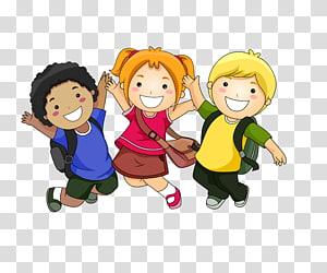 três crianças vestindo camisas de cores sortidas, criança dos desenhos animados, alunos felizes PNG clipart