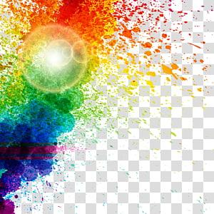 padrão de respingo aquarela, ilustração colorida de arco-íris PNG clipart