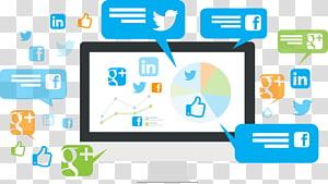 computador com mídias sociais variadas na tela, Marketing em mídias sociais Marketing digital Otimização em mídias sociais Serviço de rede social, Web para computadores PNG clipart