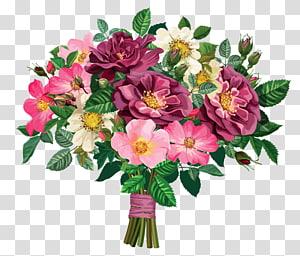 Ilustração de buquê de flores, buquê de rosas, anêmona rosa, vermelha e branca PNG clipart