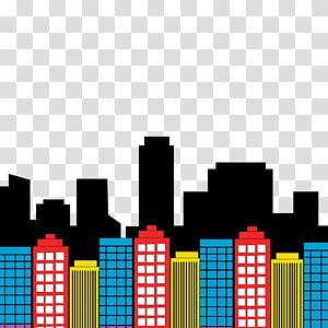 ilustração de edifícios multicoloridos, horizonte de Diana Prince Batman Superman Superhero, horizonte png