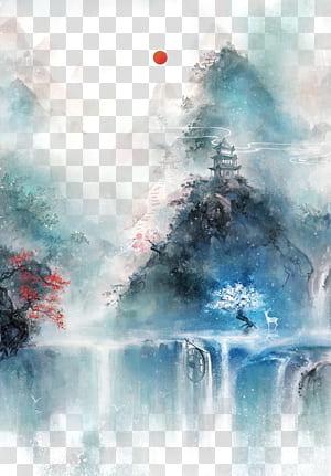 Arte chinesa Arte asiática Pintura chinesa Ilustração, Antiguidade aquarela bonita ilustração, corpo de água cercado por árvore perto da pintura do castelo PNG clipart