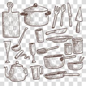 Conjunto de utensílios de cozinha, Utensílios de cozinha de mesa Desenho Utensílios de cozinha, Cozinha png